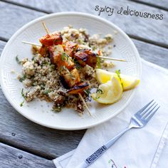 Spicy Halloumi and Pumpkin Skewers