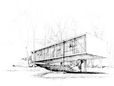 The original design for Case Study House #8 (by Charles Eames and Eero Saarinen and referred to as the Bridge House) was rethought after Charles and Ray fell in love with the meadow on which the house was to be built.