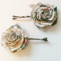 Newspaper Flower Hairpins -- DIY