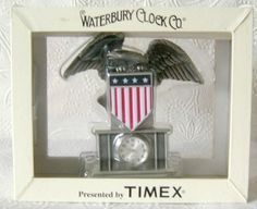 From the Waterbury Clock Co. Timex Eagle Desk Clock. Features an American Eagle with a Flag Banner. Great gift for the Eagle Collector. | eBay!