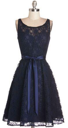 Maid of Honor Elegant Navy Lace Dress