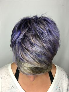 Grey Hair With Colored Highlights