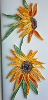 quilled sunflowers--These are very pretty! I need to get back to quilling!