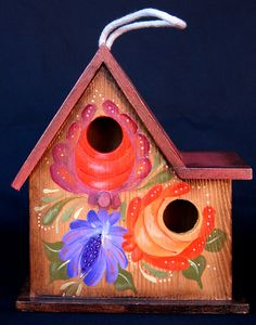 Collectible FLORAL BOUQUET BIRDHOUSE A Hand Painted by KrugsStudio, $39.99. A wonderful and colorful addition to your home decor! All ready to hang.
