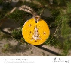 Rustic Yellow Christmas Ornament featuring Hand Painted Pine Tree made by hand from Salt Dough by BBHCreations on Etsy