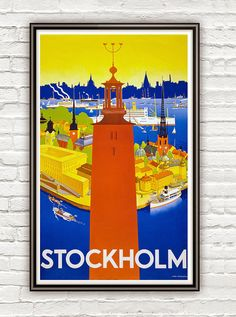 Vintage Poster of Stockholm 1930 Tourism poster travel on Etsy, $22.00