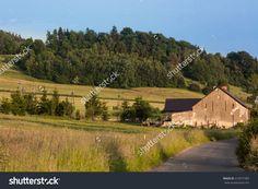 Farm In The Mountains Kaczawskie. Western Sudetes, Kaczawskie Mountains, Village Swidnik, Poland, Lower Silesia Region. The Month Of June. Zdjęcie stockowe 413571583 : Shutterstock