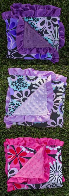 Black Wild Flower Minky Blanket