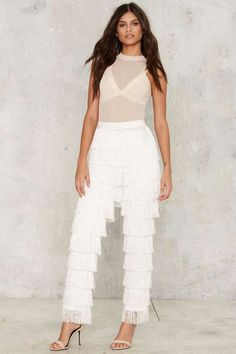 Lavish Alice High Gear Fringe Pants - White