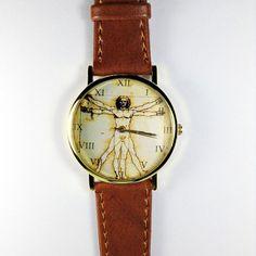Anatomy Watch, Da Vinci, Vitruvian Man, Vintage Style Leather Watch, Mens Watch, Women Watches, Boyfriend Watch, Tan,