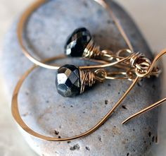 Small Gold Hoop Earrings  Pyrite Earrings  by LHJewelryBoutique