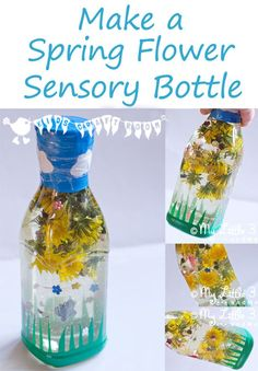 SPRING FLOWER SENSORY BOTTLES -  Babies and toddlers will love this educational activity that explores the natural world and brings the outside inside!