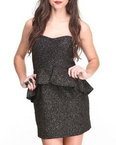 Metallic Glitz Peplum Strapless Dress by Paperdoll @ DrJays.com