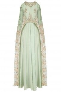 Celedon Green Floral Embroidered Cape Anarkali Set  #Celedongreen #Pastelhues #Floral #Toptrends #embroidery #embellishments #capestyle #chic #elegant #modern #ppus #shopnow