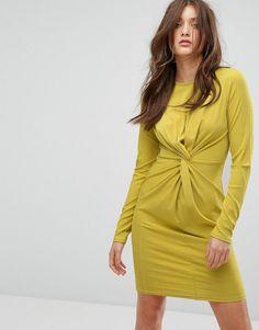 Boohoo Knot Waist Bodycon Dress - Green