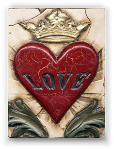 Crown - Anniversary Collection: Sid Dickens Orginals Handmade Memory Blocks (R) Heart Art, Love Heart, Decorative Tile, Sacred Heart, Tile Art, My Favorite Color, Altered Art, Heart Shapes, Canvas Art