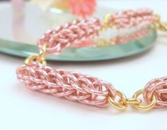 Rose pink Foxtail full Persian chain maille handmade link bracelet. $36.00, via Etsy.