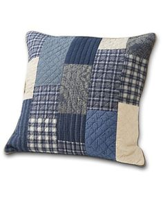 Weathered Blues Sham_ (for mancave- make envelope ticking pillow also)