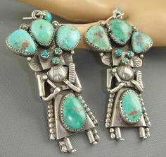 RARE Massive Long Dangle Vintage Old Pawn Navajo Turquoise Kachina Earrings | eBay