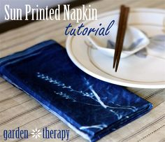 "Sun Print Napkin Tutorial. This is beautiful! Requires a ""Photographer's Formulary Cyanotype Printing Kit."""