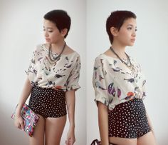 Necklace, Courtesy Of Solilor Bird T Shirt, Motel Rocks Knicker Shorts, Vintage Hmong Clutch