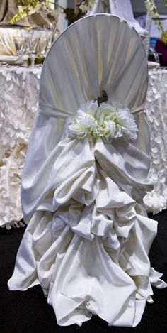 Bustled chair cover - this is what chairs wear to get married!