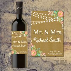 Cheers to the Bride and Groom! What better way to serve wine to your guests tables than a personalized bottle of wine to toast to! Custom Wine Bottles, Wedding Wine Bottles, Custom Wine Labels, Wine Bottle Labels, Reception Table Decorations, Rustic Wedding Centerpieces, Wedding Favors, Wedding Gifts, Wedding Decorations