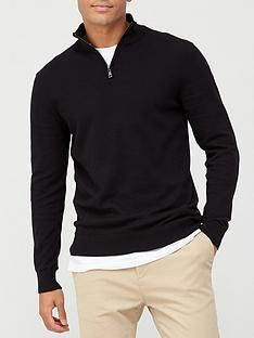 very-man-zip-neck-jumper-black Mens Jumpers, Funnel Neck, Stylish Men, Size Model, Knitwear, Zip Ups, Knitted Fabric, Cuffs, Cotton