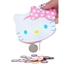Sanrio Hello Kitty Fresh Punch Coin Pouch ($15) ❤ liked on Polyvore featuring bags, wallets, hello kitty wallet, change purse wallet, zip coin purse, bow wallet and sanrio wallet