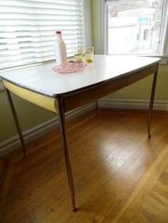 Vintage Mid Century Modern Retro Eggshell and Yellow Howell Company Metal Kitchen Table by JoulesJewels, $280.00