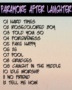 Paramore After Laughter Track Listing #paramore #paramoreafterlaughter #afterlaughter
