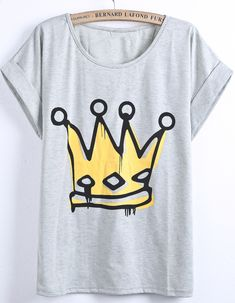 Grey Short Sleeve Imperial Crown Print T-Shirt