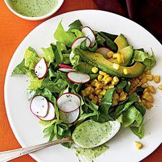 Roasted Corn and Radish Salad with Avocado-Herb Dressing   MyRecipes.com