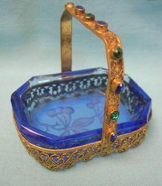 Antique Czech Cut Glass Basket with Cherries