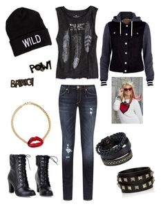 """""""Rydel inspired!"""" by jennisaurusrex ❤ liked on Polyvore featuring River Island, American Eagle Outfitters, True Religion, Valentino, Pieces, Noir, women's clothing, women's fashion, women and female"""