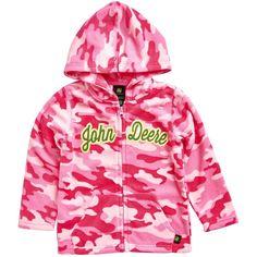 Girls 4-6x John Deere Pink Camouflage Microfleece Zip-Up Hoodie, Size: 6X