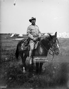 Teddy Roosevelt on his horse while in Rough Rider uniform, United States, January 1898 Rough Riders, American War, Horses, Stock Photos, Roosevelt, Trumpet, Artist, Spanish, January