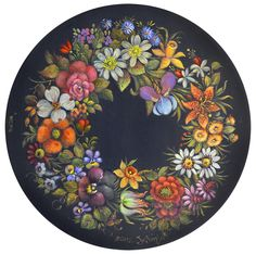 Jo Sonja used exquisite colours for the Chippendale florals on this tin platter. I love her flowers.