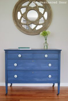 The Weathered Door: A Federal Blue Milk Paint Dresser with Light Blue Knobs. (My medallion on the wall. Dressers For Sale, Blue Dresser, Furniture Diy, Painted Furniture, Blue Milk, Refinishing Furniture, Furniture, Furniture Inspiration, Blue Furniture Inspiration