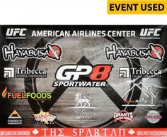 """Elias Theodorou Ultimate Fighting Championship Autographed Event-Used UFC 185 72"""" x 48"""" Sponsor Banner with Multiple Inscriptions - Defeated Roger Narvaez via 2nd Round Knockout"""