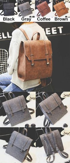 Retro Matte Square PU Metal Lock Match Large Scrub College Backpack for big sale ! #retro #square #PU #metal #Lock #backpack #Bag #fashion #college