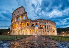 The Colosseum, Italy. The impressive arena could have held 50 000 spectators, who came to watch the fighting gladiators. Built in A.D. 70, the Colosseum is a marvelous Roman heritage.