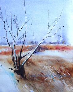 #tree #field #landscape #watercolour #aquarelle #akvarell #akvarelli #snow #winter