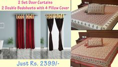 Buy Curtains Online Combo Offer Door Curtains and Sanganeri Print Bed Sheets Combo (Offer Price: Rs 2399 , Offered Discount: 22%) ** BUY NOW ** [MRP: Rs 3080]