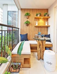 Wooden balcony furniture – Small balcony – Balcony ideas – Balcony design - All About Gardens Small Balcony Design, Small Balcony Garden, Small Patio, Balcony Ideas, Small Balconies, Patio Ideas, Narrow Balcony, Outdoor Balcony, Terrace Design