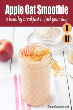 Start your morning with a fresh burst of apple cider and spices in this warm apple oat smoothie. #Smoothies #AppleRecipes #HealthyBreakfast #VeganBreakfastIdeas #EasyBreakfast #oatmeal #HealthyRecipes at OatandSesame.com #OatandSesame
