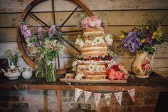 Whimsical Rustic Homemade Barn Wedding Naked Sponge Cake  http://www.frecklephotography.co.uk/
