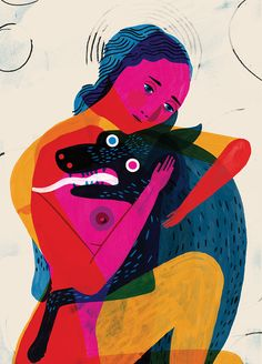 keith negley Layers of color and translucency Human figure and animal