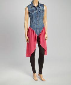 Pink & Denim Studded Sleeveless Dress #zulily #zulilyfinds