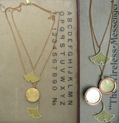 Gingko leaves locket!  They are a symbol of longevity, hope, resilience and peace.